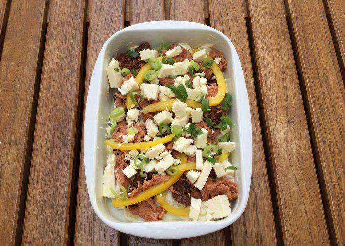 German Version: Pulled Pork Kartoffelauflauf