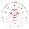 Rundes rotes Logo mit Herz, Haus, Wurst