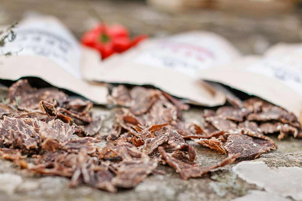 Getrocknetes Rindfleisch als Proteinsnack